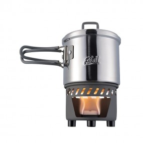 Solid fuel cook set with stainless steel pot