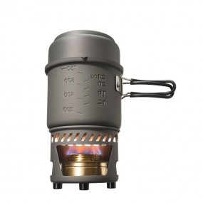 Cookset with alcohol burner, non stick