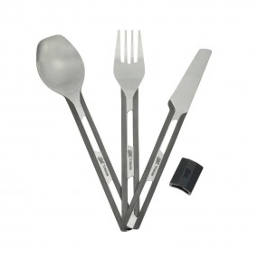 Titanium cutlery set with silicon sleeve